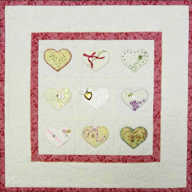 Lacy Hearts quilt handwork