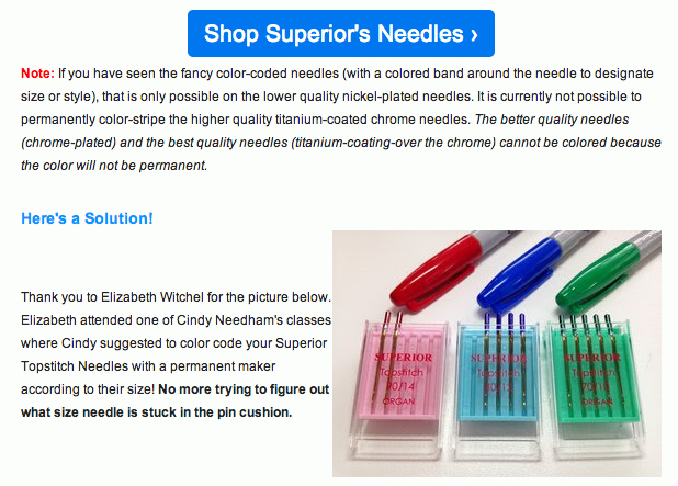 Superior Threads on color coded needles
